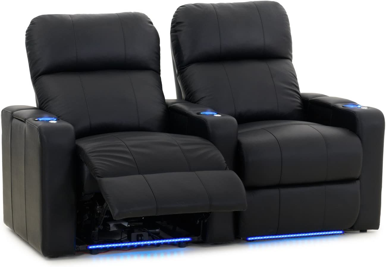 Octane Turbo XL700 Black Bonded Leather with Power Recline Row of 2 Straight