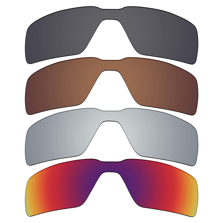 1e2447eb8510b Amazon.com   Mryok 4 Pair Polarized Replacement Lenses for Oakley Probation  Sunglass - Stealth Black Bronze Brown Silver Titanium Midnight Sun   Sports    ...