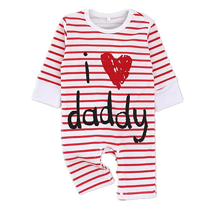 1010b90a5a91 EsTong Baby Girls Boys Pure Cotton Long Sleeve Onesies I Love Daddy Romper  Bodysuit 0-