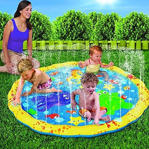 Leiyini Sprinkle and Splash Play Mat Inflatable Sprinkler Pad Summer Outdoor Splash Water Toy for Children (39