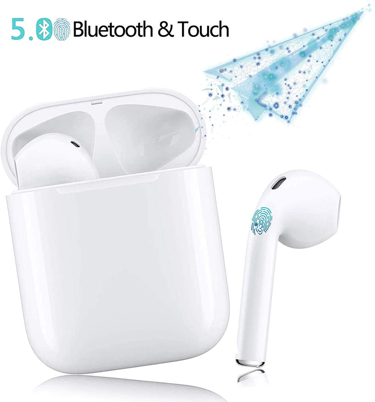 True Auriculares Bluetooth, Battleaxe Deportivos Mini Twins HIFI Inalámbricos Bluetooth 5.0 Auriculares Bluetooth con Verdadero Sonido Estéreo con Micrófono Sin Demora para iPhone, Android y PC