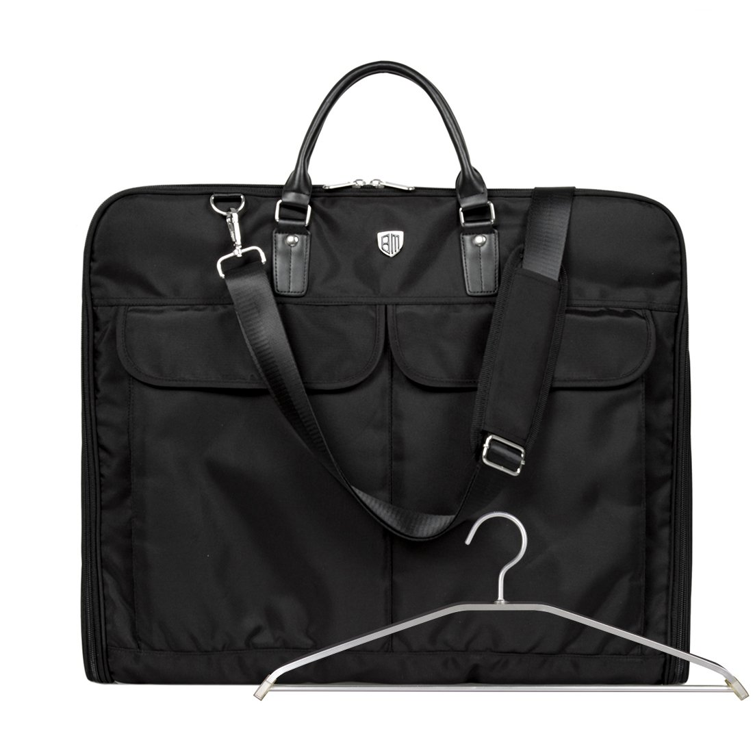 BAGSMART Garment Bag for Suits and Wedding Dresses with Shoulder Strap and Hanger, Black