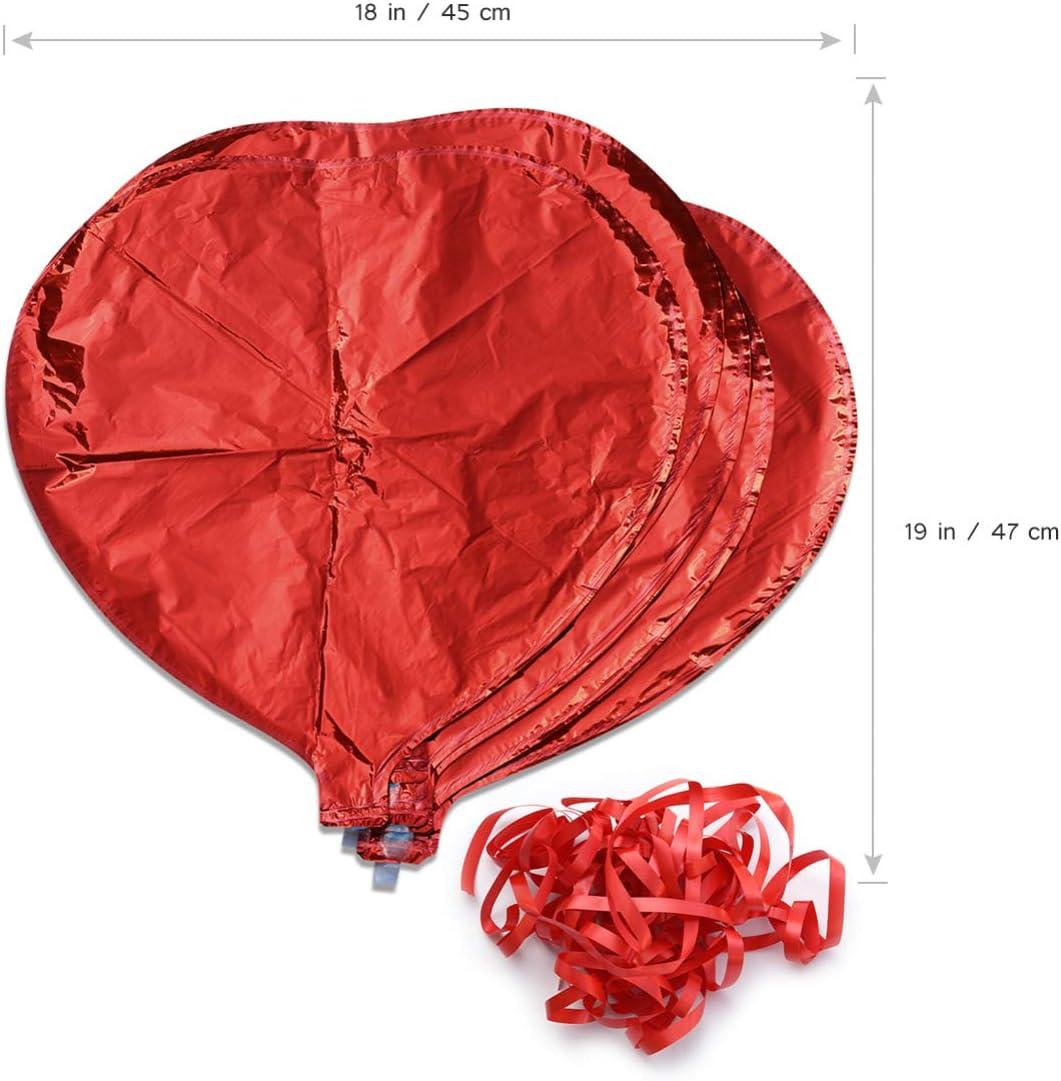 FRCOLOR Globos de Papel de Coraz/ón Rojo con Cuerdas Globos de Papel de Helio con Cuerdas Suministros de Accesorios para Fiestas Decoraci/ón de Boda de Cumplea/ños de San Valent/ín 10 Piezas