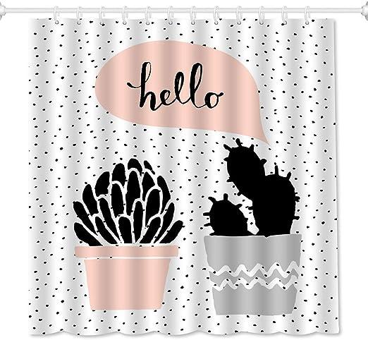 Shower Curtain Plants Cactus and Flower Design Bath Curtains Decor Set 12 Hooks
