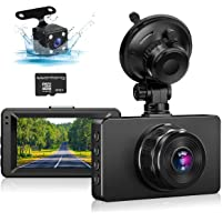 """Dash Cam Front and Rear, Dual Dash Cam 1080P Full HD Dash Camera for Cars 3"""" IPS Screen in Car Camera Front and Rear…"""