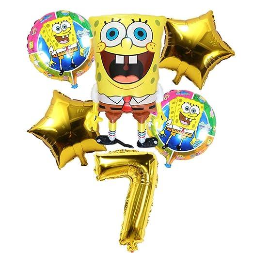 LIUUWO Balloon 6Pcs Cumpleaños 3D Bob Esponja Globos Set ...