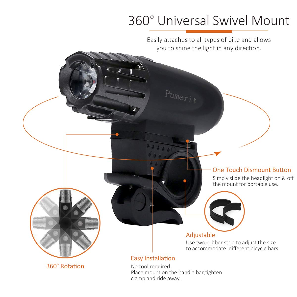Bonnevie USB Rechargeable Bike Light Set,1500mA Powerful Waterproof Mountain Bicycle Headlight and Taillight Set Super Bright Front Light and Rear Light for Cycling Safety by Bonnevie (Image #5)