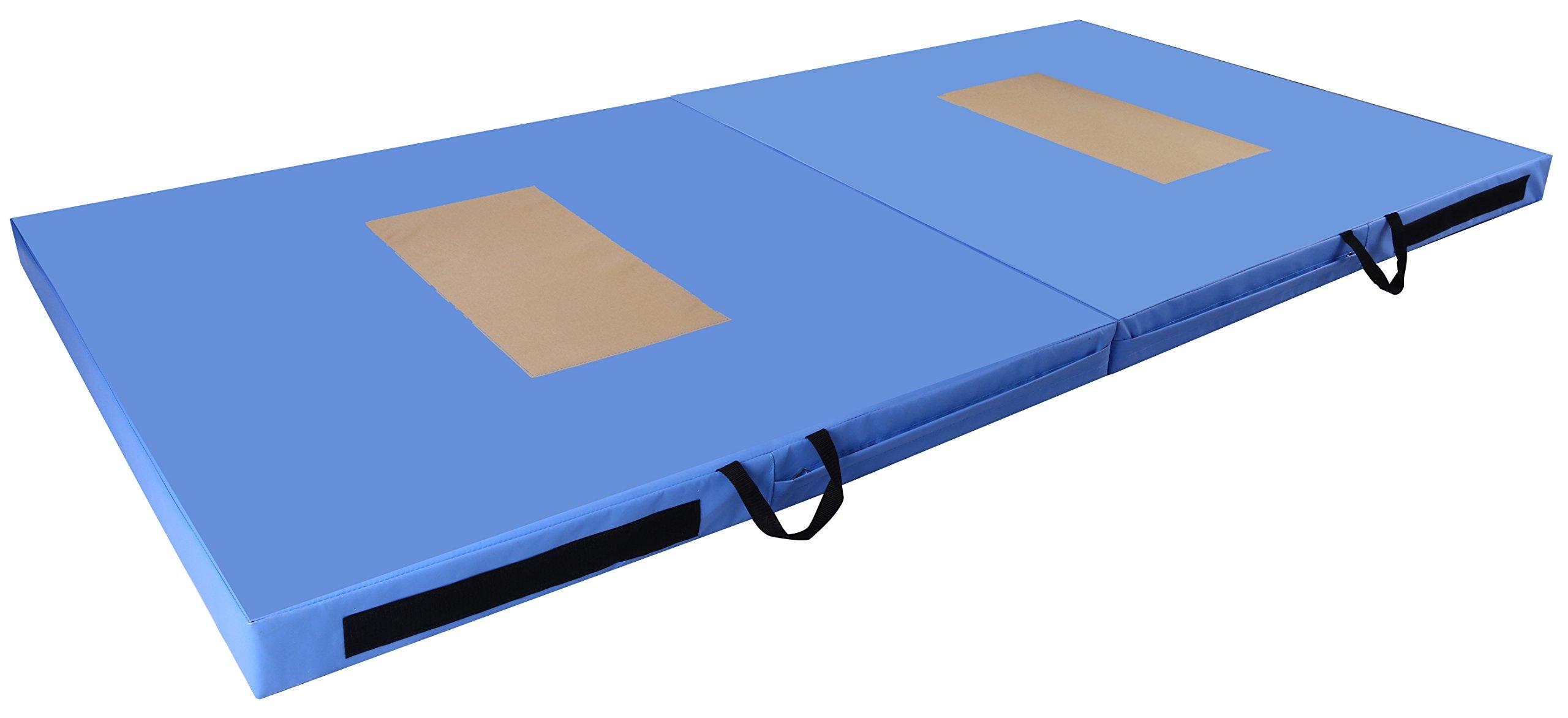 BalanceFrom GoGym All-Purpose 4'x8'x4 Extra Thick High Density Anti-Tear Gymnastics Gym Folding Exercise Aerobics Mats (Blue)