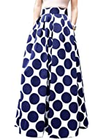 CHOiES record your inspired fashion Choies Women's White Contrast Polka Dot Print Maxi Skirt