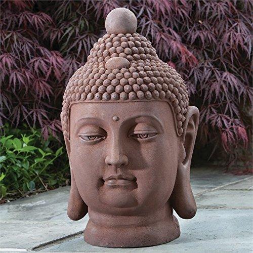 Alfresco Home Buddha Bust Statuary, Antique Rust