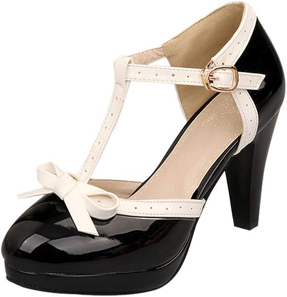 4341856c0732c Women's High Heel Platform Pumps with Bows Vintage Patent T Bar Court Shoes