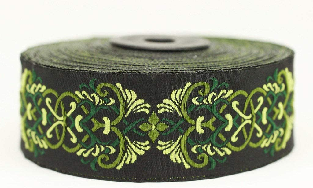 10 Yards 1.37 inch Choose Your Color Royal Celtic Heart Jacquard Ribbon Sewing Trims Green Ribbon Trim Heart Embroidered Ribbons Jacquard Trim