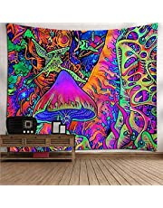 Wall Tapestry, Psychedelic Trippy Hippie Tapestry Wall Hanging Colorful Mushroom Forest, Rectangular Art Decor Print Fabric for Living Room Bedroom