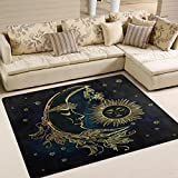 ALAZA Ethnic Star Flower Moon Sun Face Area Rug Rugs for Living Room Bedroom 7′ x 5′