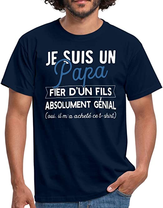 Papa Fier d'un Fils Génial T Shirt Homme: