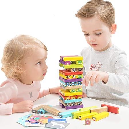 LILUN6 Juego de apilamiento de Ladrillos de Color, Torre de Ladrillos de Madera, Juego de Mesa, Adecuado para niños y niños Mayores de 3 años, 54 Piezas: Amazon.es: Hogar