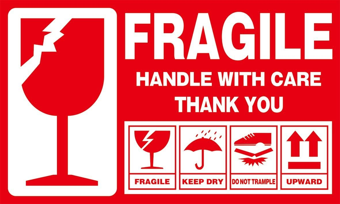 100 2x3 FRAGILE Stickers Handle with Care plus 15 PINK Thank You Stickers Ship