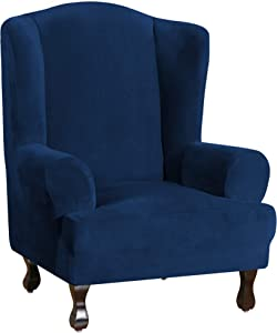 Wing Chair Slipcover Velvet Slipcovers for Wingback Chairs Ultra Soft Plush Sofa Covers 1-Piece Furniture Cover/Wingback Chair Cover with Elastic Bottom, Machine Washable (Wing Chair, Navy)