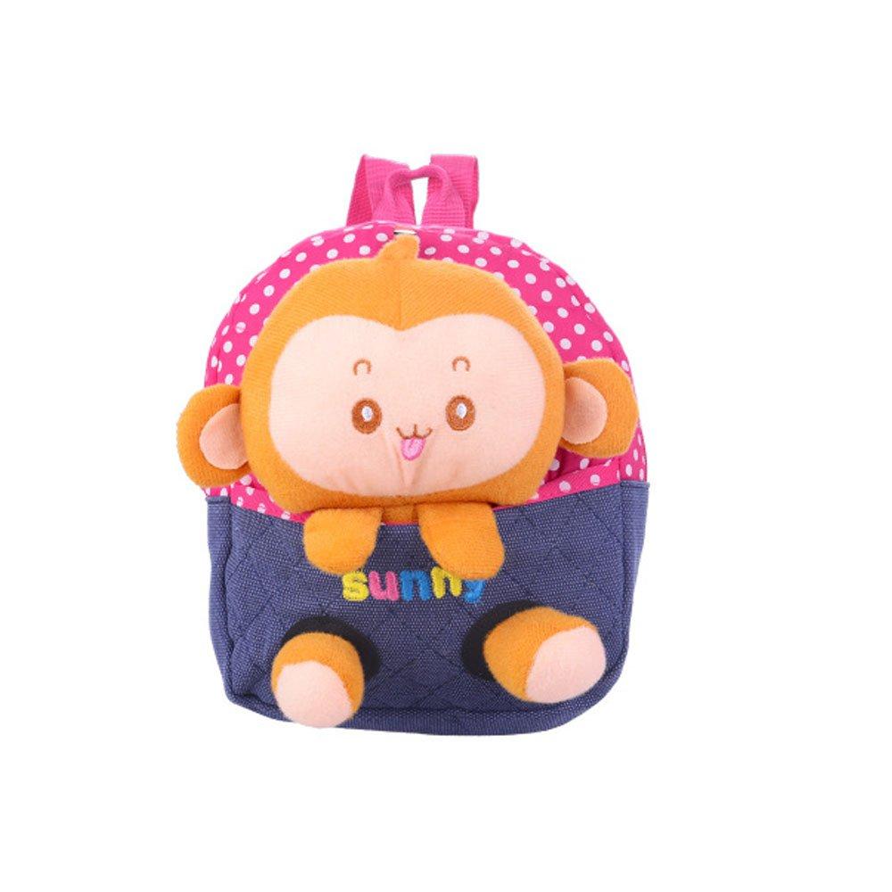 Emotionlin Kindergarten 1-2-3 Year Old Baby Bags of Small Bags of Monkeys Cute Backpack Cartoon Bag (Red)