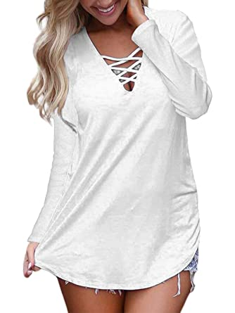 6b672cd1c0b54f Amazon.com: kigod Women Casual V Neck Criss Cross Long Sleeve T-Shirts Tops  Solid Basic Lace up Blouse: Clothing