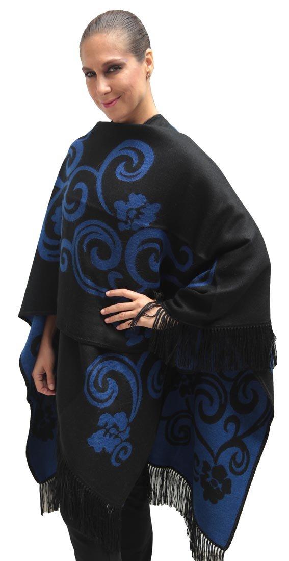 Superfine Reversible Woven Alpaca Wool Cape Ruana Poncho Wrap One Size (Black/Blue)