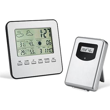 LLVV Thermo-hygrometer Inalámbrico LCD Termómetro Digital Hogar Higrómetro Plata Estación Meteorológica Metro Pronóstico del