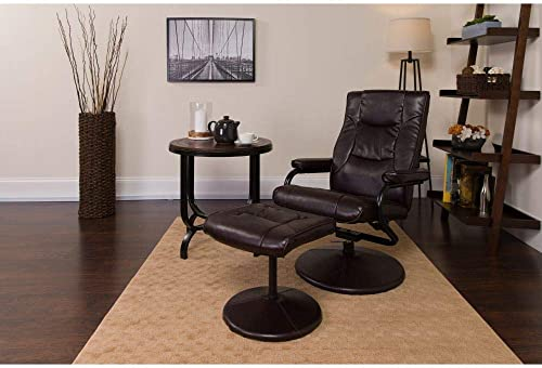 Flash Furniture Contemporary Multi-Position Recliner and Ottoman with Wrapped Base in Brown LeatherSoft