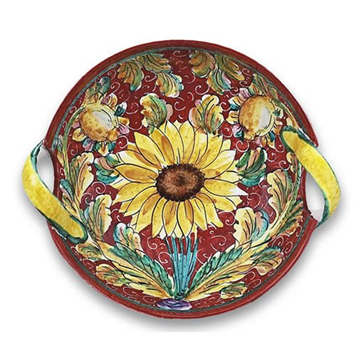 Hand Painted Girasole Two-handled Bowl From Italy