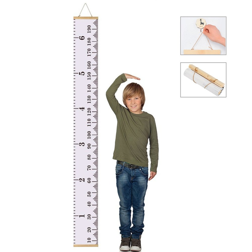Baby Growth Chart Handing Ruler Wall Decor for Children, Canvas Removable Roll Up Height Record for Kids Nursery Room 79
