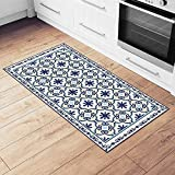 """blue and white kitchen Camoone Non Slip Kitchen Mat + 4 Free Coasters - (Greek Garden) Blue & Off-White Decorative Vinyl Kitchen Floor Mat - Hypoallergenic, Insulated, Non-Fading, Easy to Clean and Non-Toxic""""47.2x23.6x0.08"""""""