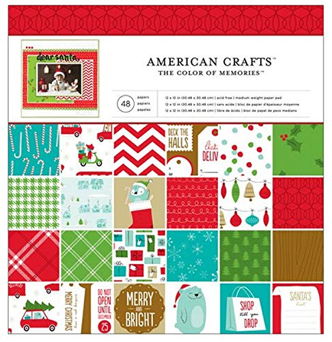 American Crafts Be Merry Patterned Paper Pad 12 by 12-Inch