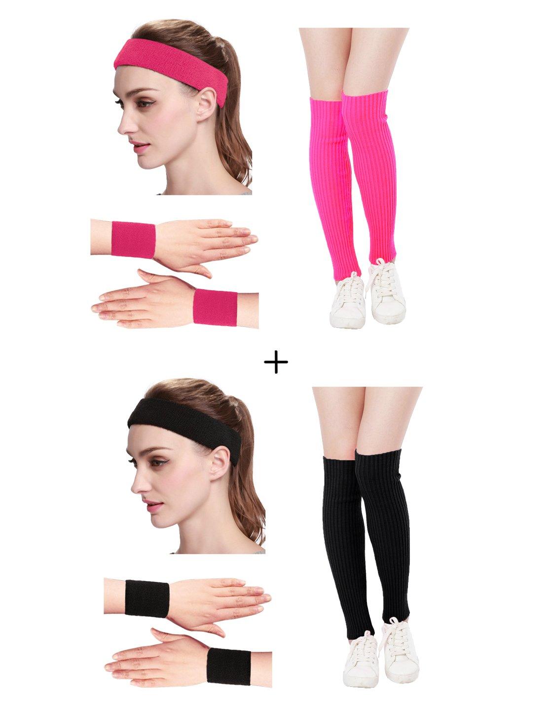 Kimberly's Knit Women 80s Neon Pink Running Headband Wristbands Leg Warmers Set (Free, zHotpink+Black)