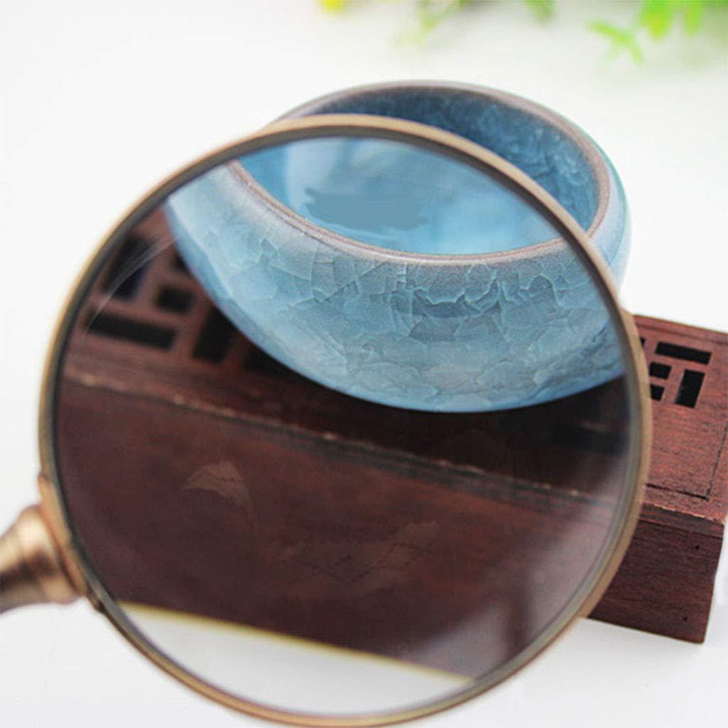 Mzxi de Veces Mano 20 Veces de Lupa Lente de Vidrio óptico HD Color de Bronce de sándalo Adecuado para la Lectura de Ancianos, Identificación de Joyas, Mantenimiento electrónico, Visión Baja, etc. 091c83