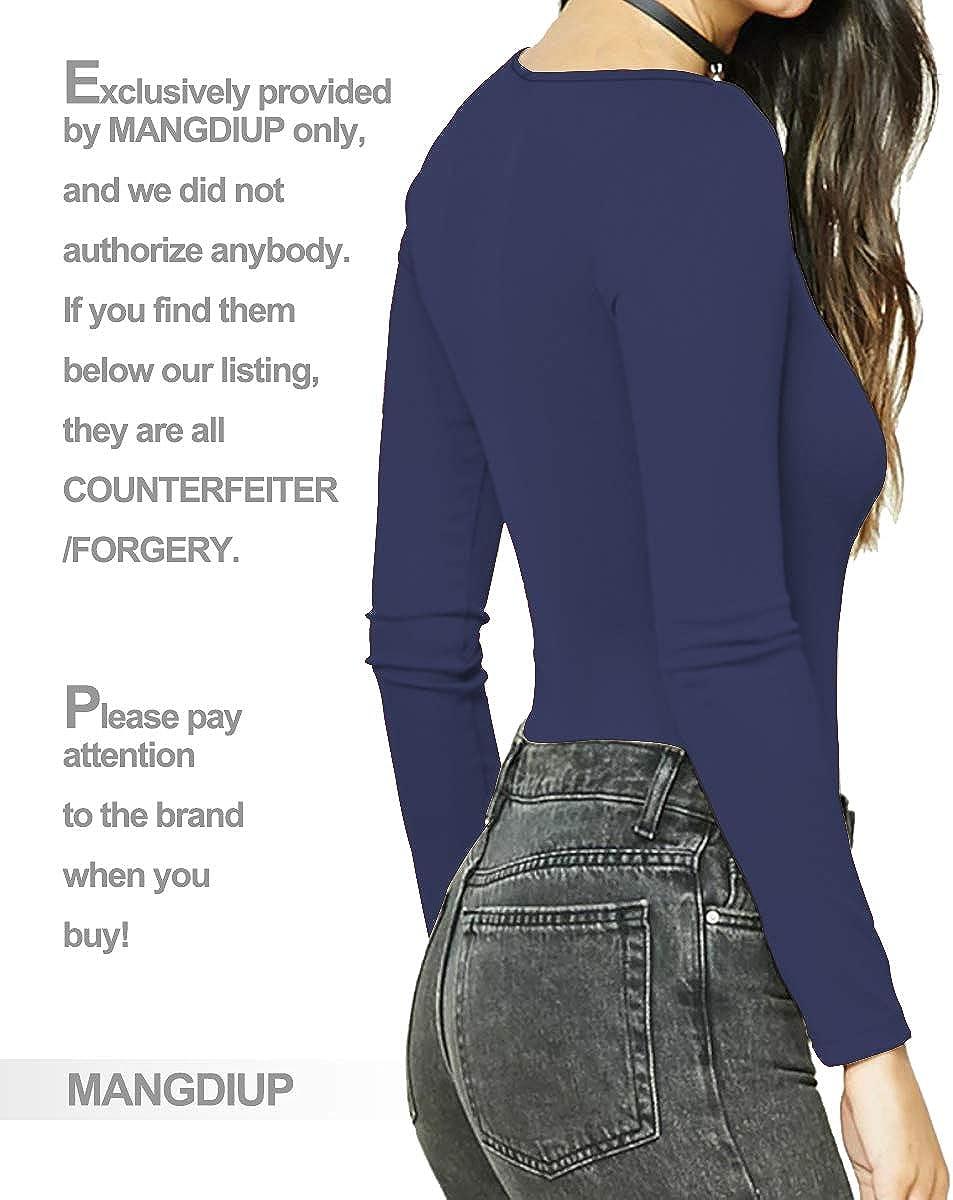 MANGDIUP Womens Round Collar Long Sleeve Elastic Bodysuit Jumpsuit