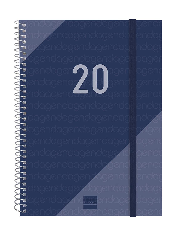 Finocam - Agenda 2020 semana vista apaisada Espiral Year Azul español