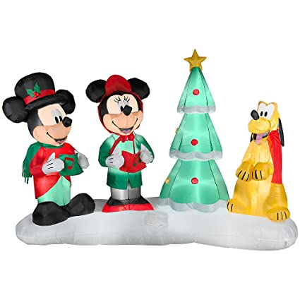 disney 75 ft mickey minnie mouse w pluto christmas carolers lightshow airblown inflatable - Mickey And Minnie Christmas Decorations