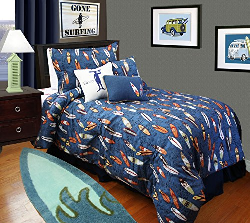 Surf Bedding for Boys - Twin Duvet Cover with Matching Sham
