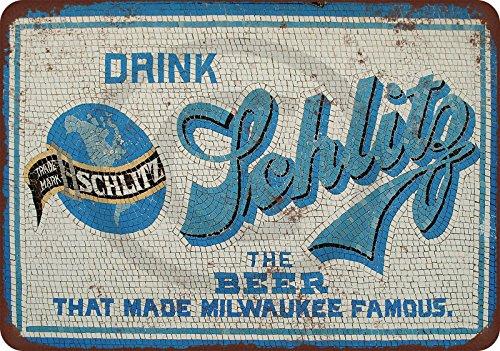 osaic Tiles blue Reproduction Metal Sign tin 8 x 12 (Schlitz Beer)