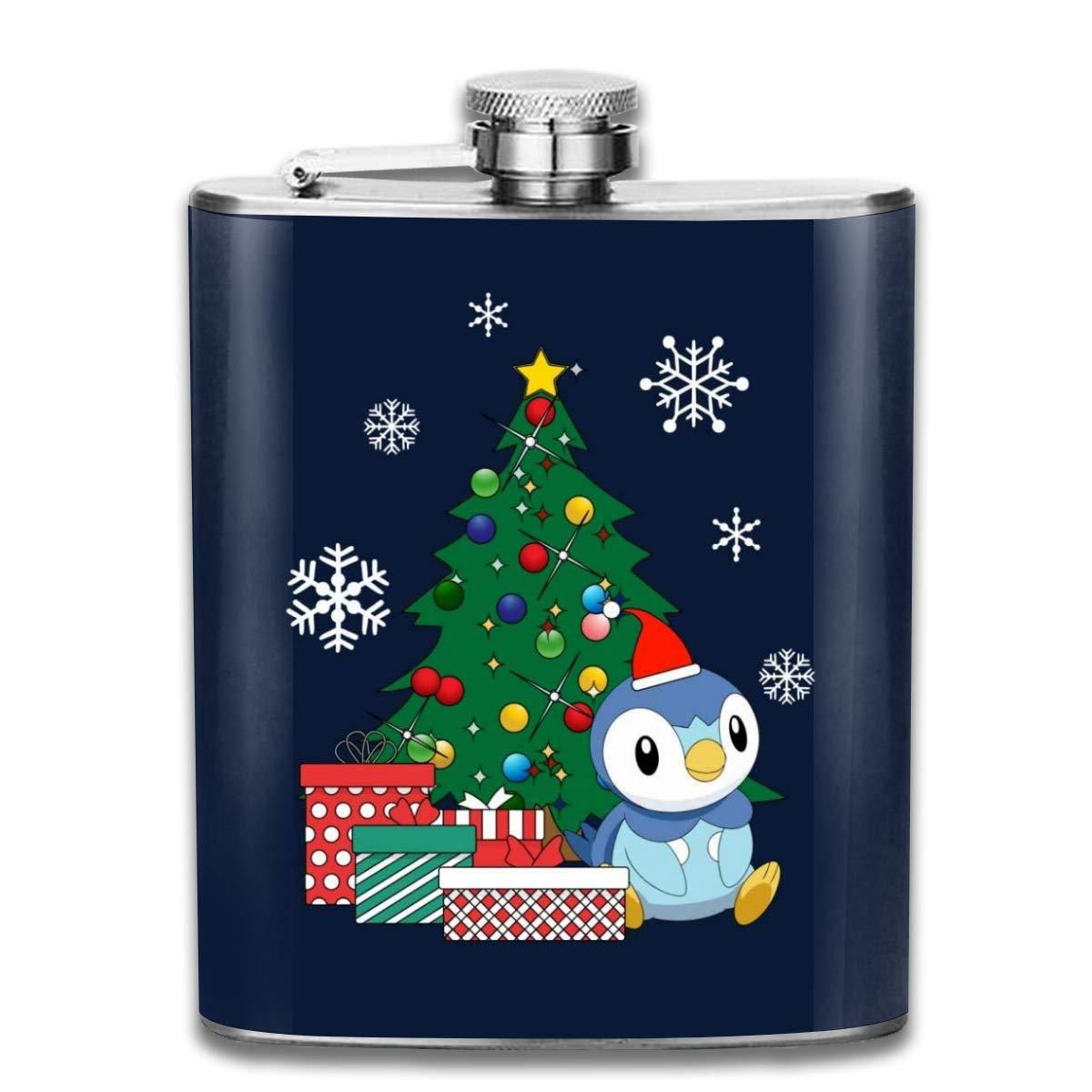Piplup Flasque de poche en acier inoxydable Motif Around The Christmas Tree 200 ml
