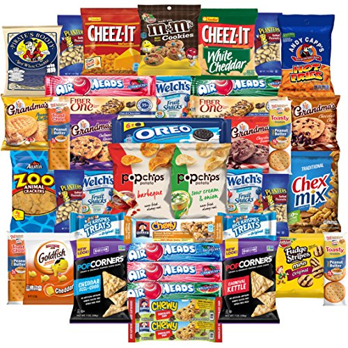 Cookies Chips & Candies Snacks Variety Pack Bulk Sampler Assortment (Care Package 42 Count) (Snacks Sampler)