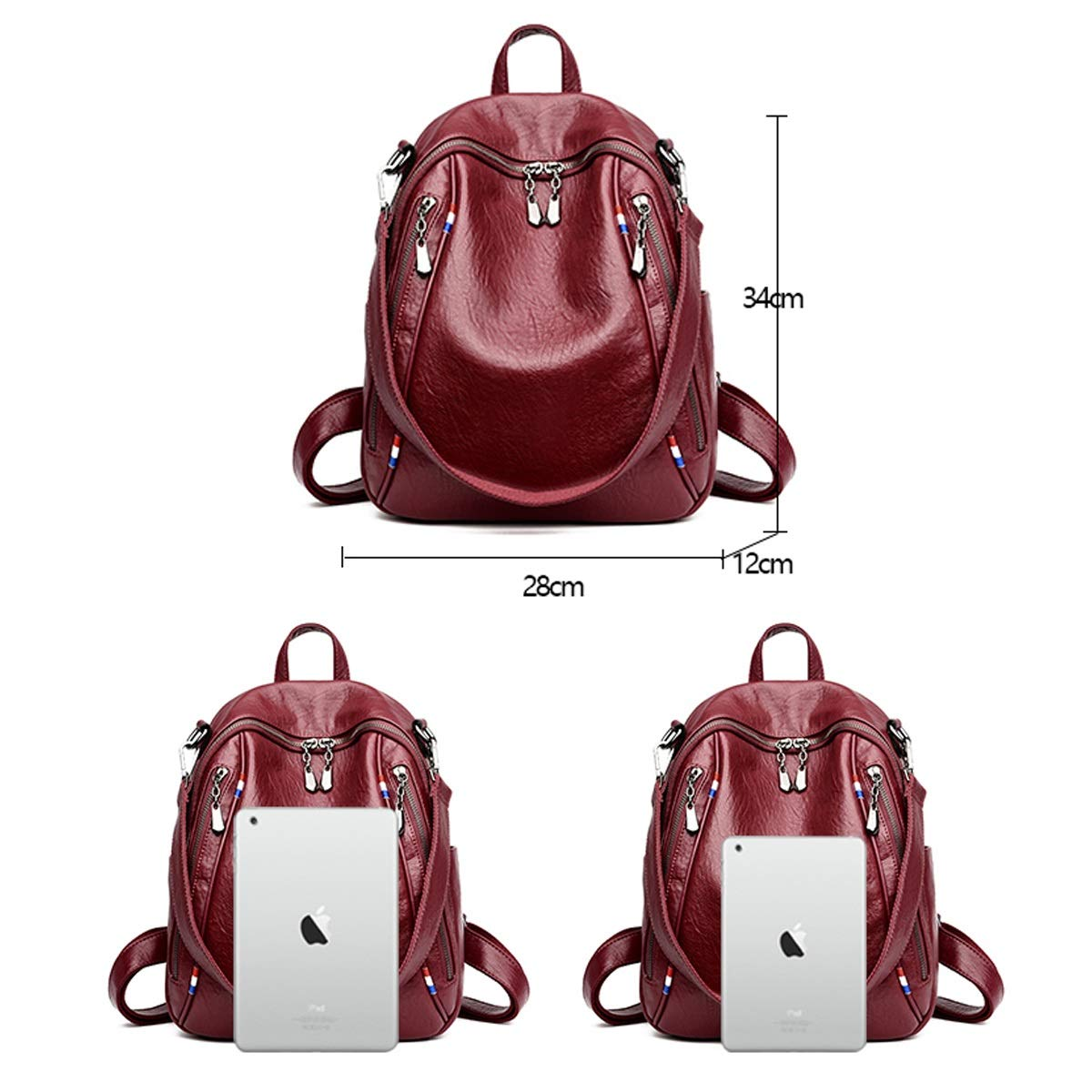 Black//Purple//Red//Brown Haoyushangmao Girls Multi-Purpose Backpack for Daily Travel//Outdoor//Travel//School//Work//Fashion//Leisure PU Leather Generous and Simple.