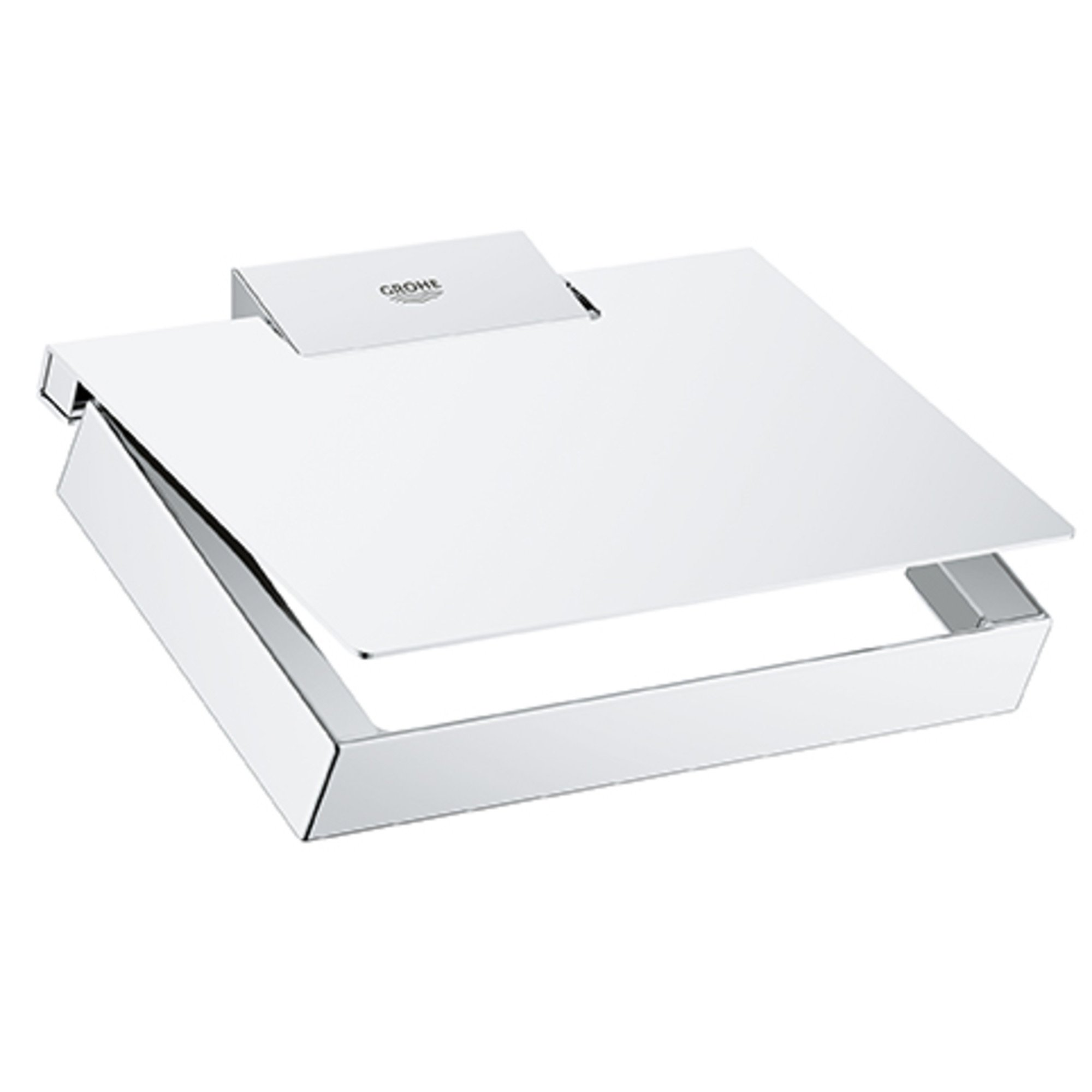 GROHE 40781000 Selection Cube Paper Holder w/Cover, Starlight Chrome