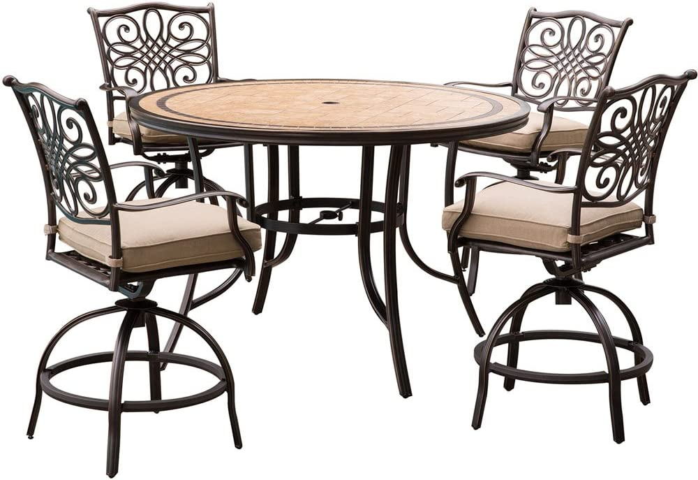 Envelor Hanover Monaco 5 Piece Outdoor High Dining Set Weatherproof Garden Lawn Patio Furniture With Tile Top Table Swivel Gliding Chairs And Cushions Amazon Co Uk Garden Outdoors