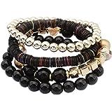 Polytree Women's 4 Pcs Colorful Beads Multilayer Handmade Beaded Wrap Bracelets