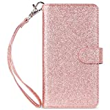 ULAK iPhone 6S Plus Wallet Case, iPhone 6 Plus Case, Glitter Magnetic Detachable PU Leather Wallet Multi Credit Card Holders Flip Case Cover for Apple iPhone 6 Plus/iPhone 6S Plus (Rose Gold Bling)