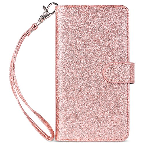 ULAK iPhone 8 Plus Wallet case, iPhone 7 Plus Case, Glitter Magnetic Detachable PU Leather Wallet Multi Credit Card Holders Flip Case Cover for Apple iPhone 7 Plus/iPhone 8 Plus – Rose Gold Bling Review