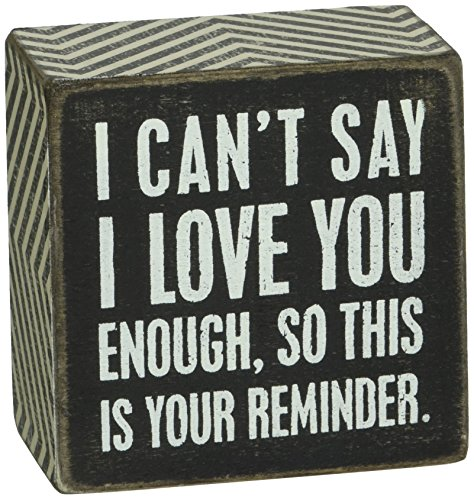 Primitives by Kathy Chevron Trimmed Box Sign, 3 x 3-Inches, I I Love You (Cute Sayings For Your Best Friend)