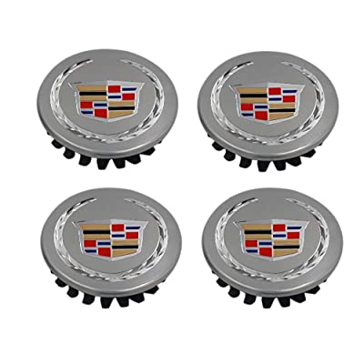 YOJOHUA 2.56 Inch Wheel Center Hub Caps for 2004-2009 Cadillac ATS CTS DTS SRX XTS XLR, 65mm Chrome Center Cap Emblem for Cadillac Wheels 9595010 4PCS (Silver with Wheat Ear): Automotive