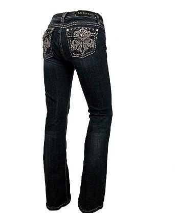 e4d33b0bcbc2f L.a. Idol Women Bootcut Jeans Crystal Fleur Flap Stretch in Dark Blue Wash