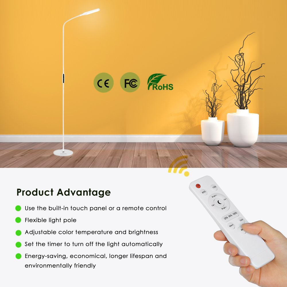 LED Floor Lamp, NACATIN Reading Lamps with 25 Styles of Lighting, Time Function, Touch & Remote Control Lamps LED for Living Room, Bedroom, Office, 9W, White by NACATIN (Image #5)